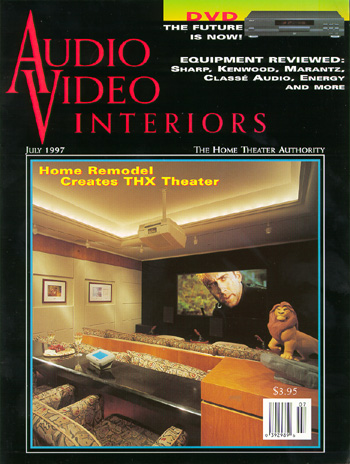 Electronic Home Lion King Theater featured on the July 1997 cover of AVI Magazine.